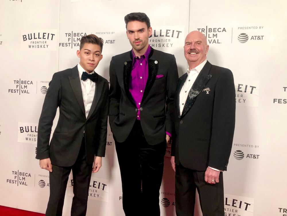 (From left) Darius Shu, Arron Blake and Philip Brisebois on the red carpet premiere at Tribeca Film Festival 2019, New York. — Picture courtesy of Darius Shu