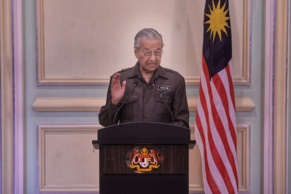 Prime Minister Tun Dr Mahathir Mohamad speaks to reporters during a press conference on the East Coast Railway Link (ECRL) project in Putrajaya April 15, 2019. — Picture by Shafwan Zaidon