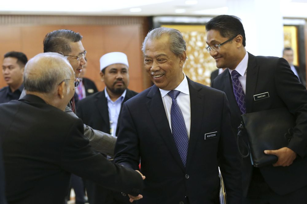 Home Minister Tan Sri Muhyiddin Yassin is pictured in Parliament April 4, 2019. — Picture by Yusof Mat Isa