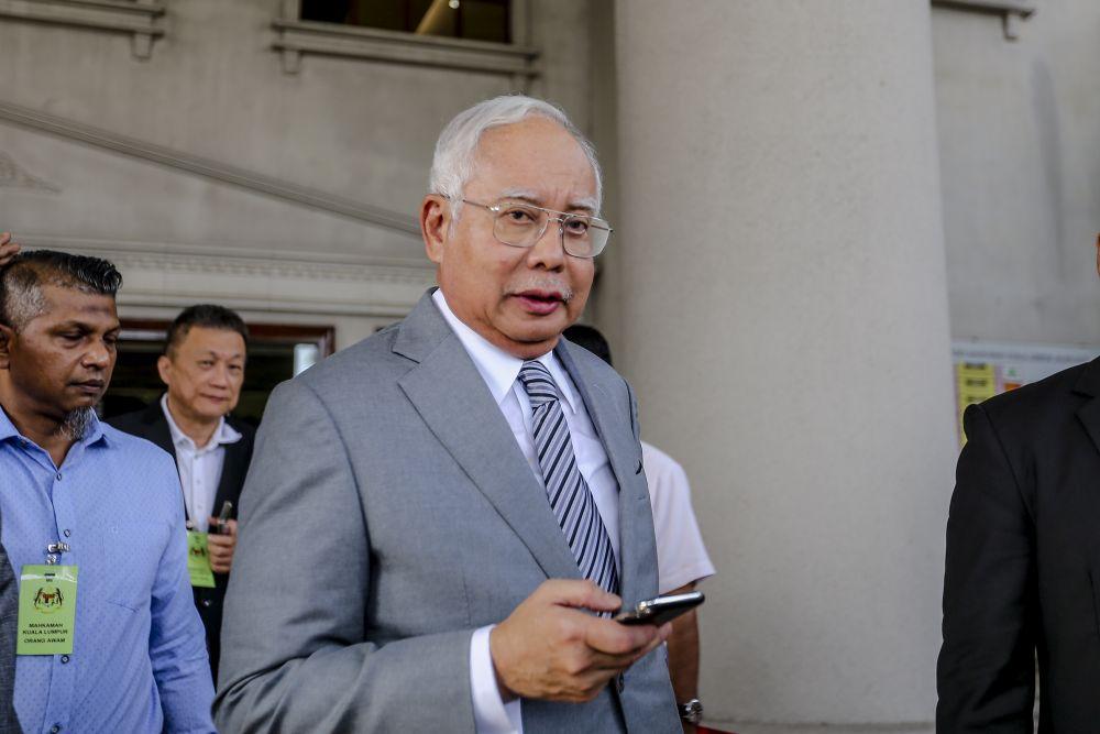 Datuk Seri Najib Tun Razak leaves the Kuala Lumpur Court Complex April 16, 2019. — Picture by Firdaus Latif