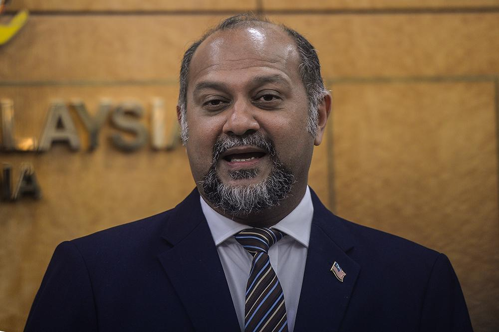 Minister of Communications and Multimedia Gobind Singh Deo speaks during a press conference at Parliament on April 11, 2019. ― Picture by Miera Zulyana