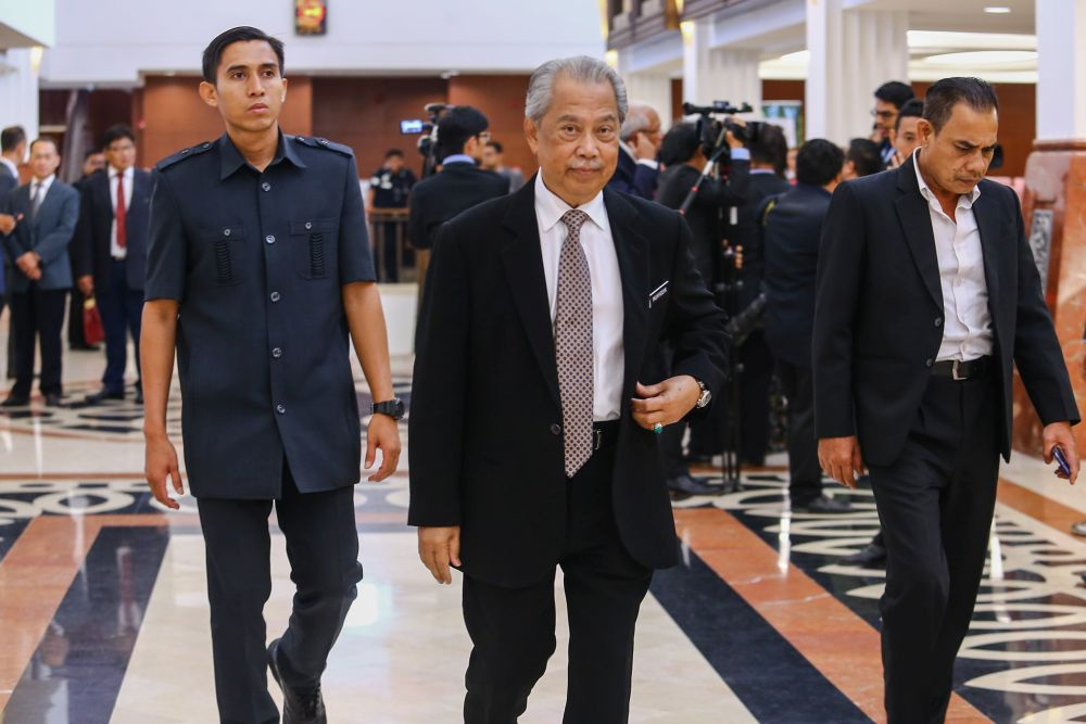 Home Minister Tan Sri Muhyiddin Yassin is pictured at Parliament April 9, 2019. — Picture by Hari Anggara