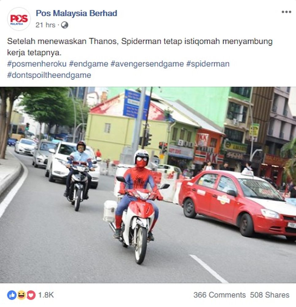 The funny post was part of Pos Malaysia's content marketing in conjunction with the Marvel Studios superhero movie. — Screengrab from Facebook/Pos Malaysia Berhad