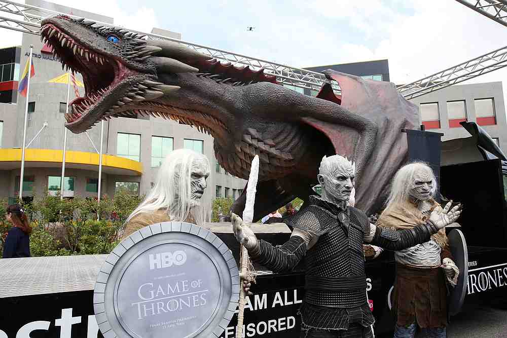 The Night King and two White Walkers pose with Viserion the dragon at the Astro All Asia Broadcasting Centre in Bukit Jalil. — Picture by Choo Choy May