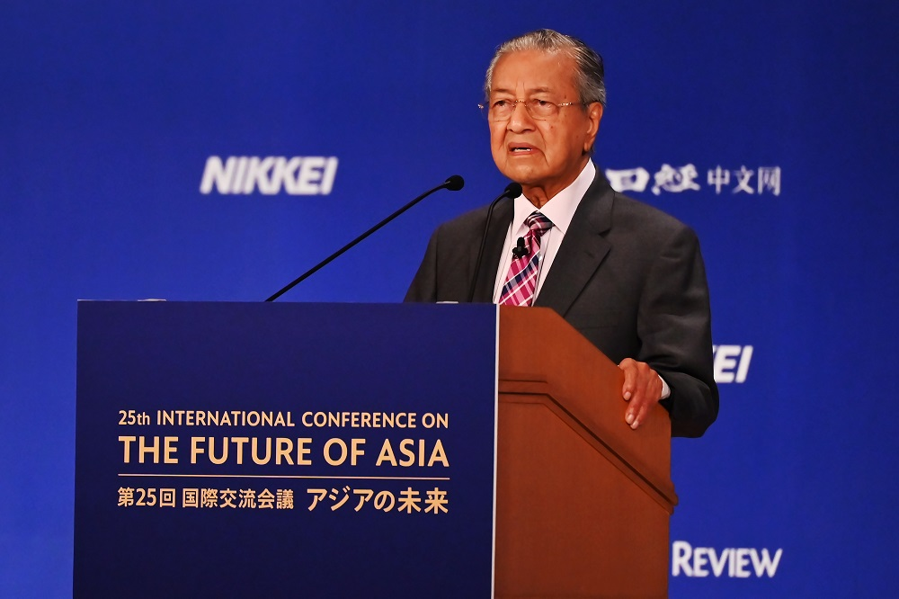 Prime Minister Tun Dr Mahathir Mohamad speaks at the 25th International Conference on The Future of Asia in Tokyo May 30, 2019. — AFP pic