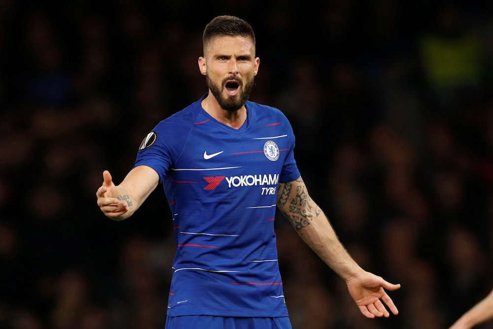 Chelsea's Olivier Giroud reacts during the Europa League semi-final second leg match with Eintracht Frankfurt at Stamford Bridge in London May 9, 2019. — Action Images pic via Reuters
