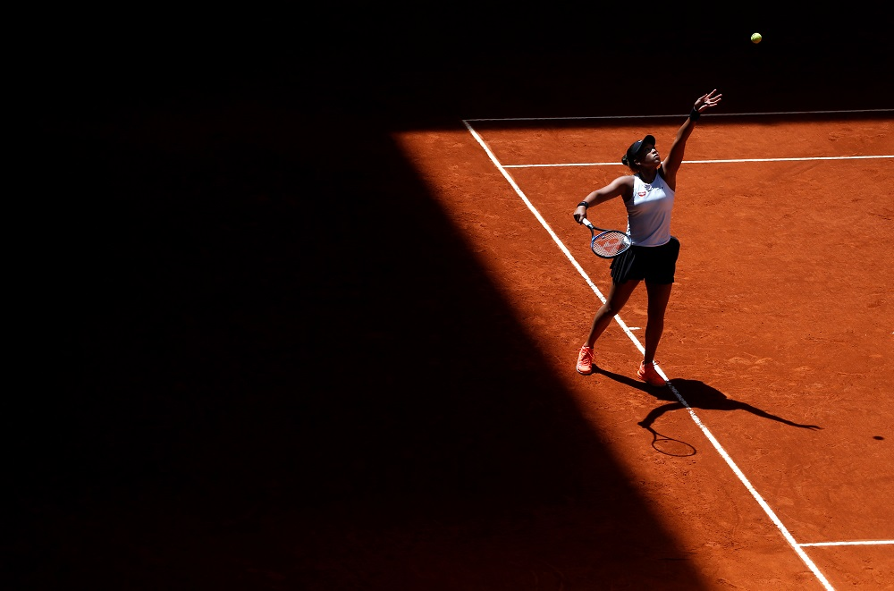 Naomi Osaka in action during her quarter final match against Belinda Bencic at the Madrid Open May 9, 2019. — Reuters pic