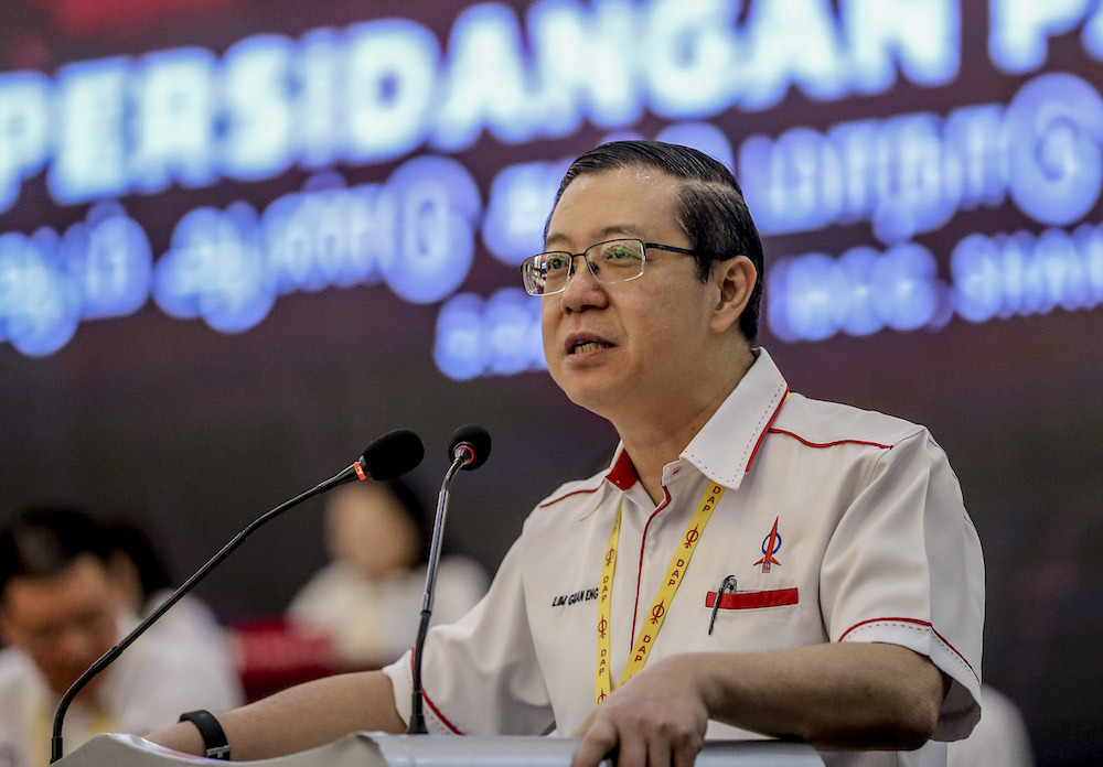 DAP secretary-general Lim Guan Eng speaks at the 2019 DAP National Conference in Shah Alam May 5, 2019. — Picture by Firdaus Latif