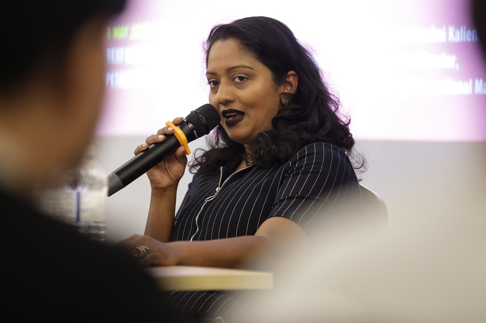Executive director of Amnesty International Malaysia, Shamini Darshni Kaliemuthu, speaks during a press conference in Petaling Jaya May 8, 2019. — Picture by Ahmad Zamzahuri