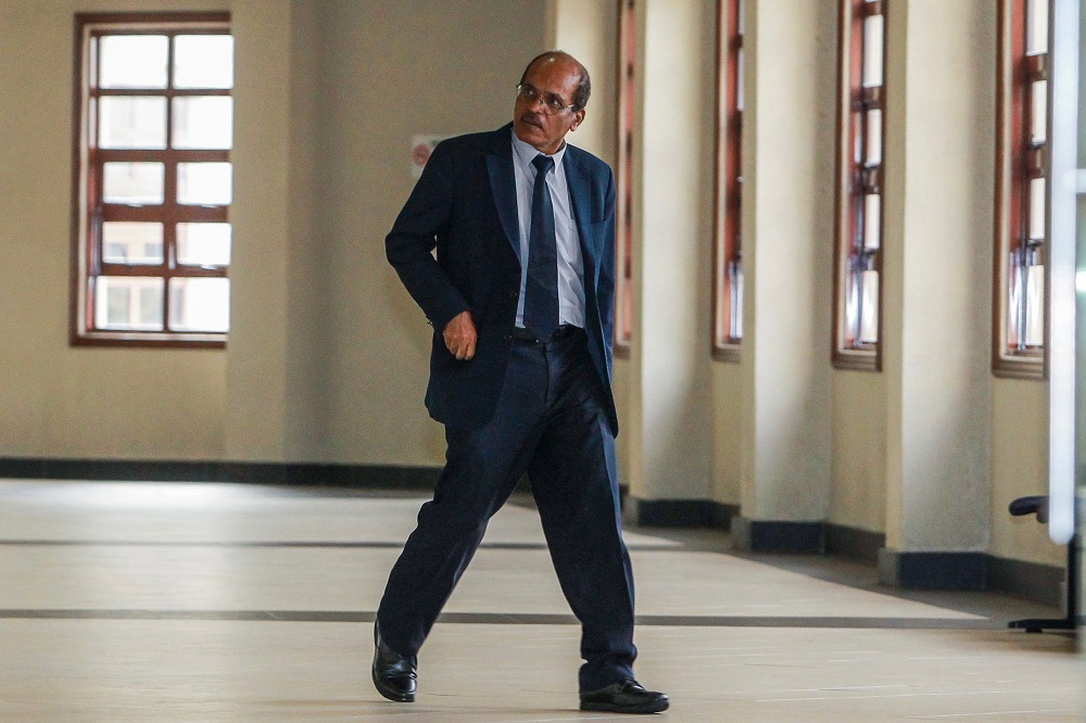 Former director of the Retirement Fund Incorporated's Accounts and Management Services Department, R. Ambalagam, at the Duta Court in Kuala Lumpur May 9, 2019. — Picture by Hari Anggara