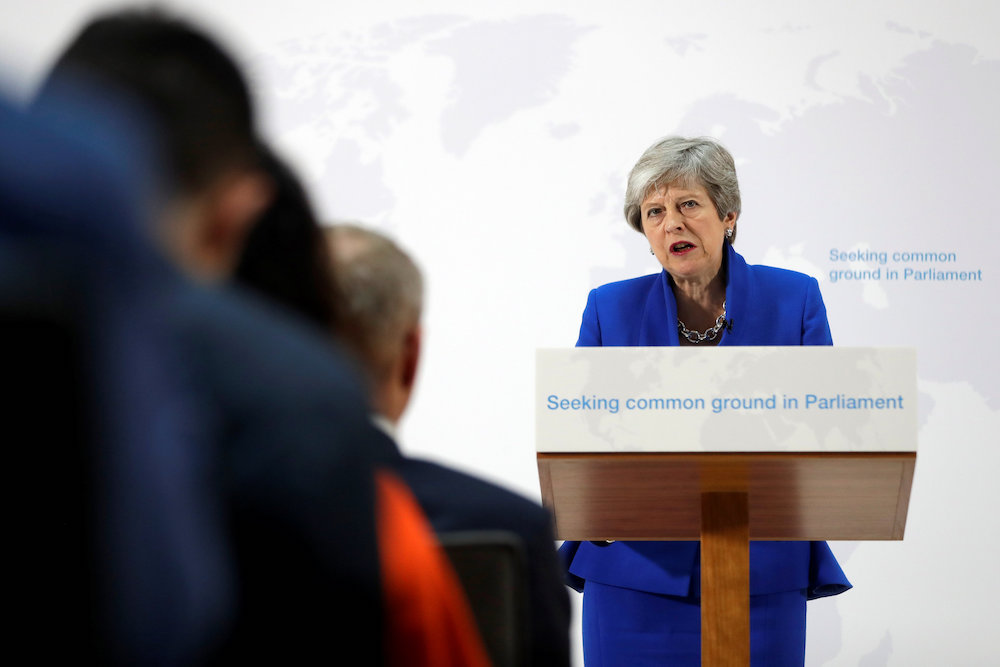 Britain's Prime Minister Theresa May delivers a speech on Brexit in London May 21, 2019. — Reuters pic