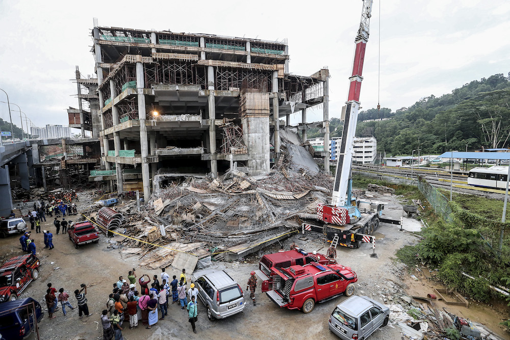 General view of the site of the Gombak Integrated Transport Terminal car park collapse in Kuala Lumpur May 23, 2019. — Picture by Firdaus Latif