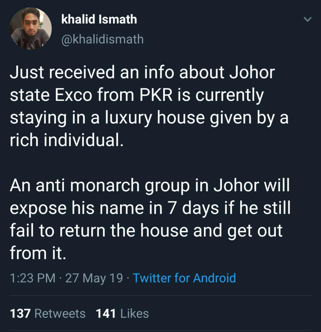 On Monday, political activist and Parti Sosialis Malaysia Youth chief Khalid Mohd Ismath issued a warning to the Johor executive council member. — Picture via Twitter/ khalid Ismath