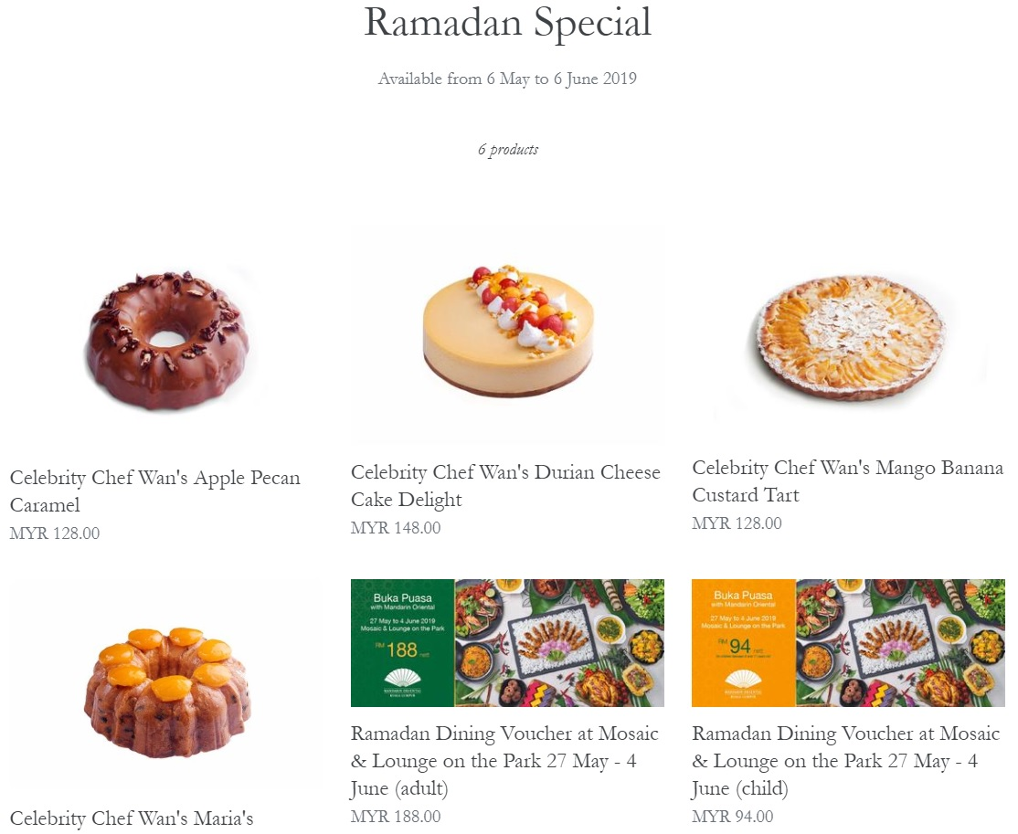 Chef Wan has four creations available for order on the Mandarin Oriental Kuala Lumpur online cake shop. — Screengrab from Mandarin Oriental KL official website