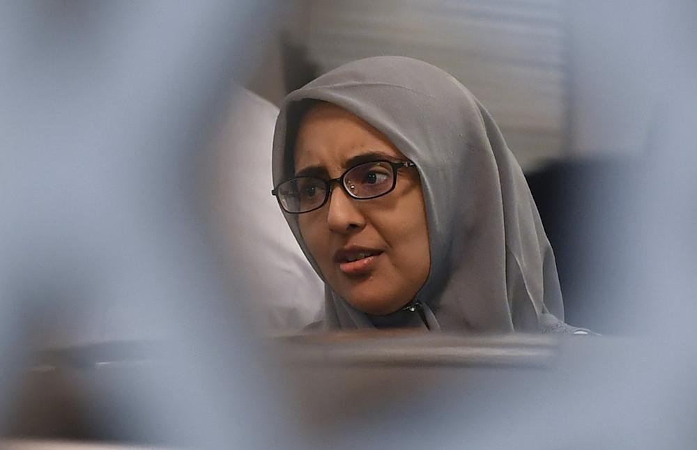 Samirah Muzaffar, widow of Cradle Fund CEO Nazrin Hassan, attends a court hearing in Putrajaya May 28, 2019. — Bernama pic