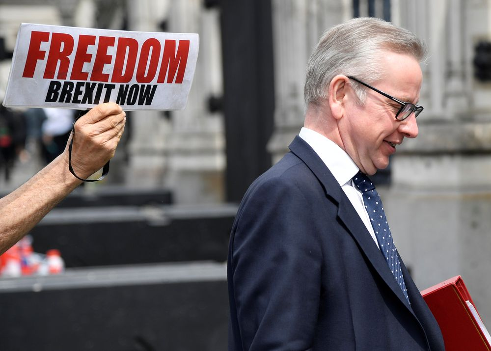 Michael Gove said that parliament would have the opportuinity to vote on the EU withdrawal bill. — Reuters pic