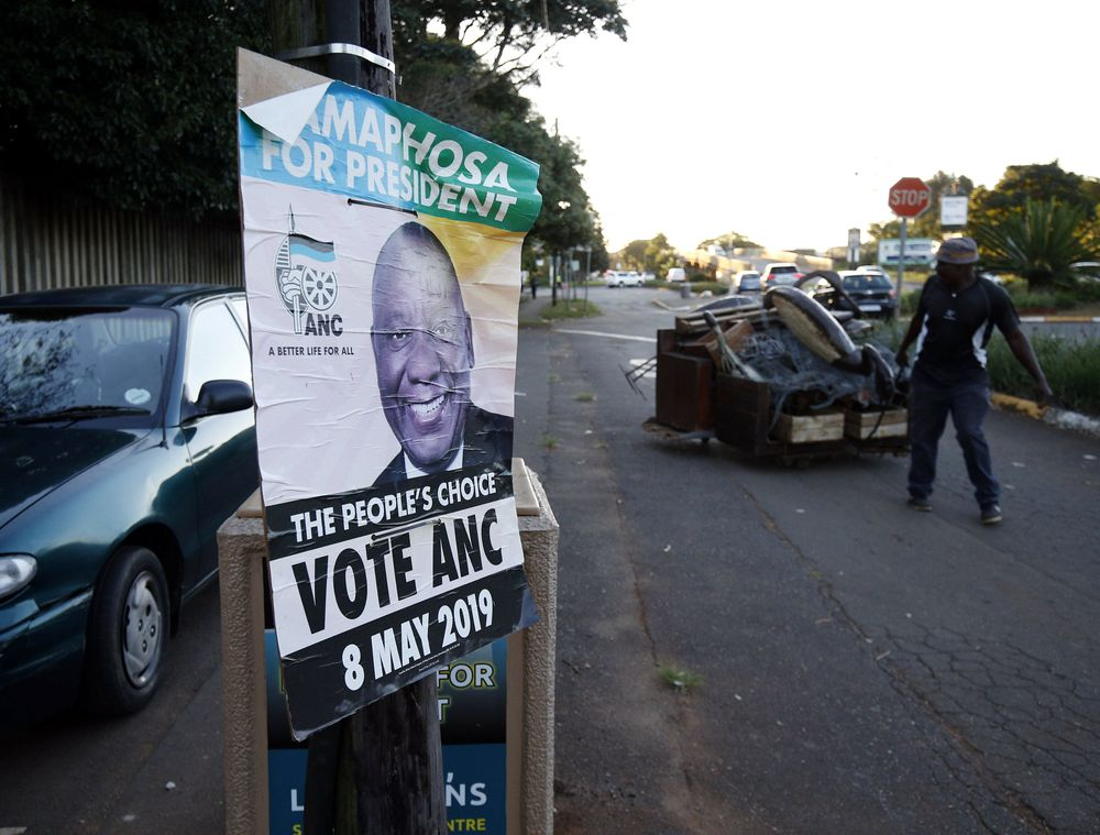 A fading African National Congress election poster is seen in Kloof near Durban, South Africa, May 9, 2019. — Reuters pic