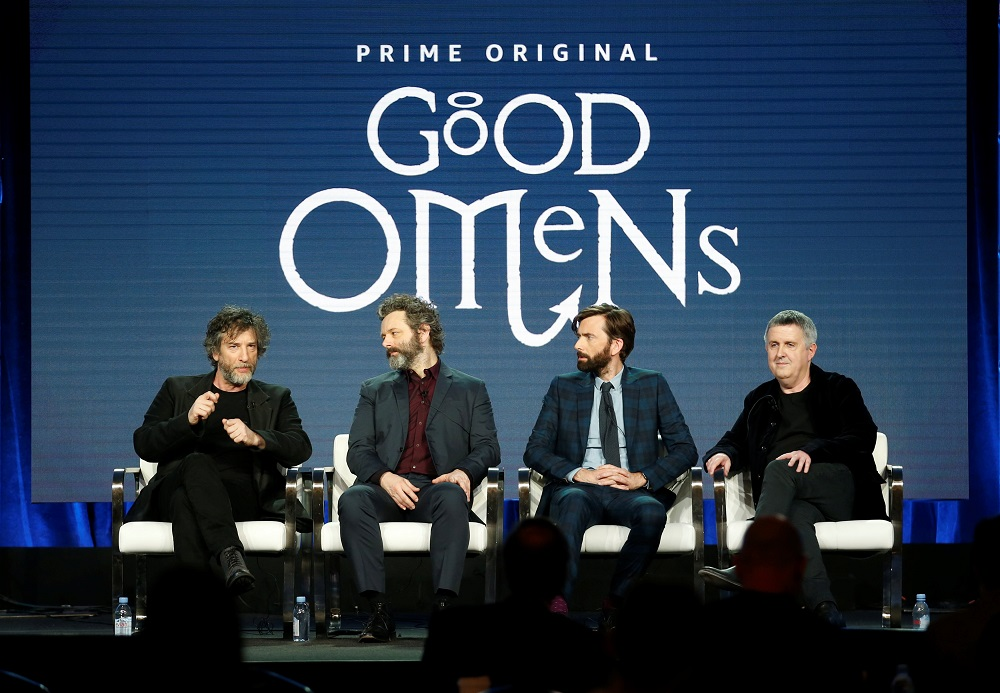 From left: Executive producer and show runner Neil Gaiman, cast member Michael Sheen, cast member David Tennant, and executive producer and director Douglas Mackinnon speak on a panel for the Amazon Series 'Good Omens', during the Television Critics Association (TCA) Winter Press Tour in Pasadena, California February 13, 2019. ― Reuters pic