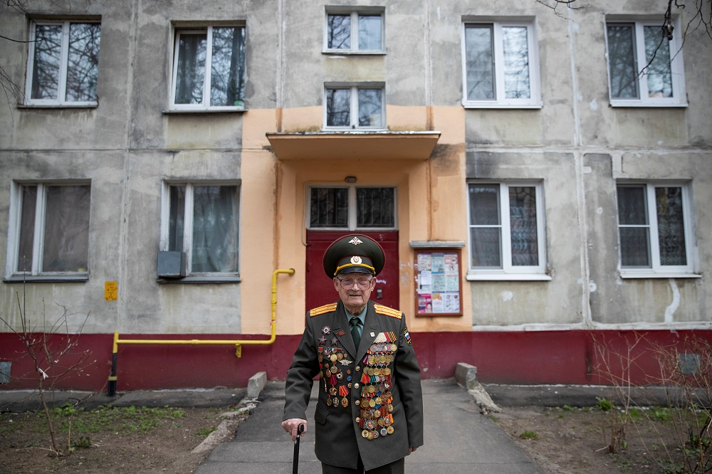World War Two veteran Nikolay Bagayev, 100, poses for a picture dressed in his uniform, in front of his apartment block in Korolyov, north of Moscow, Russia April 18, 2019. ― Reuters pic