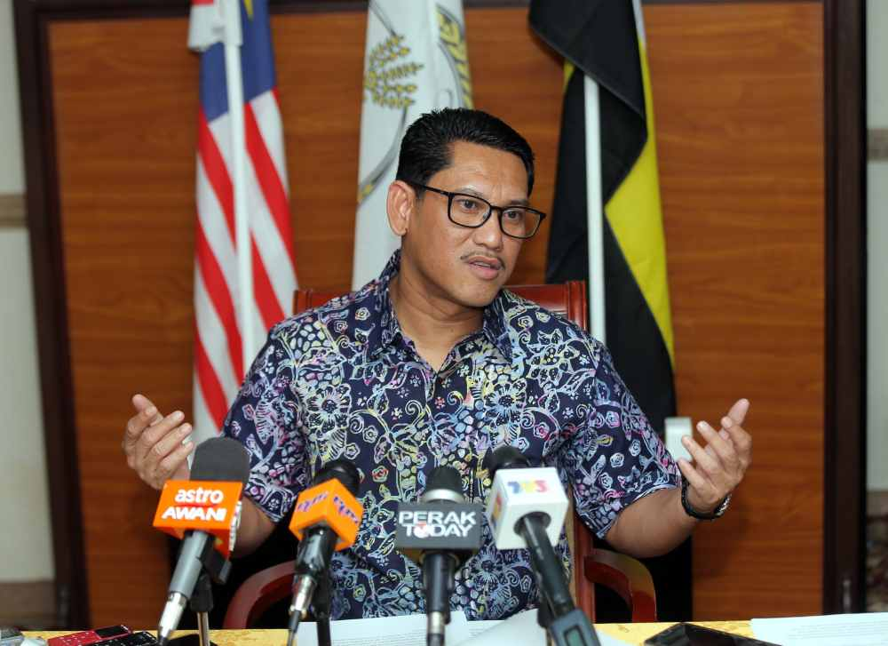 Perak Mentri Besar Datuk Seri Ahmad Faizal Azumu speaks to reporters in a special interview session at his official residence in Ipoh May 13, 2019. ― Picture by Farhan Najib