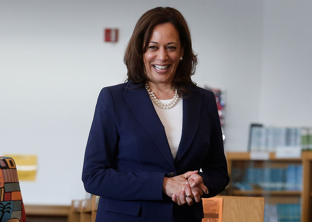 US Senator Kamala Harris prepares to read a story book about kindness to students at Miller Elementary School in Dearborn, Michigan May 6, 2019. — Reuters pic