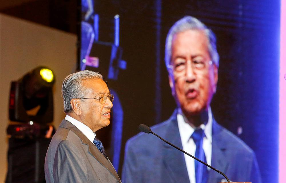 Prime Minister Tun Dr Mahathir Mohamad speaks during the National Teacher's Day Celebration at Spice Arena in George Town May 16, 2019. ― Picture by Sayuti Zainudin