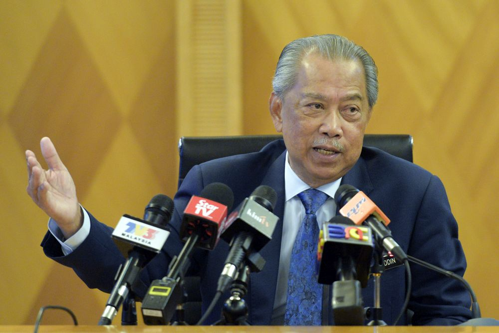 Home Minister Tan Sri Muhyiddin Yassin speaks during a media interview in Putrajaya May 2, 2019. — Picture by Mukhriz Hazim