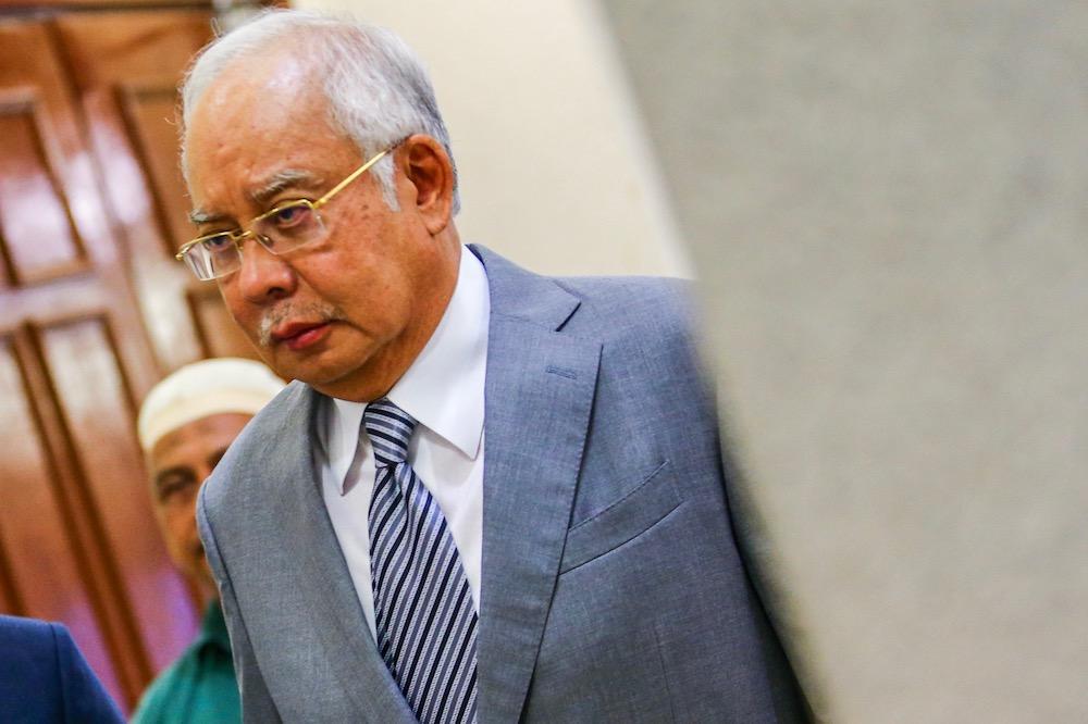Datuk Seri Najib Razak is seen at the Kuala Lumpur Court Complex May 29, 2019. — Picture by Hari Anggara