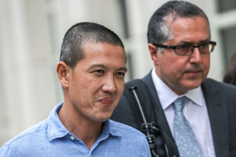 Ex-Goldman Sachs banker Roger Ng leaves the federal court in New York May 6, 2019. — Reuters pic