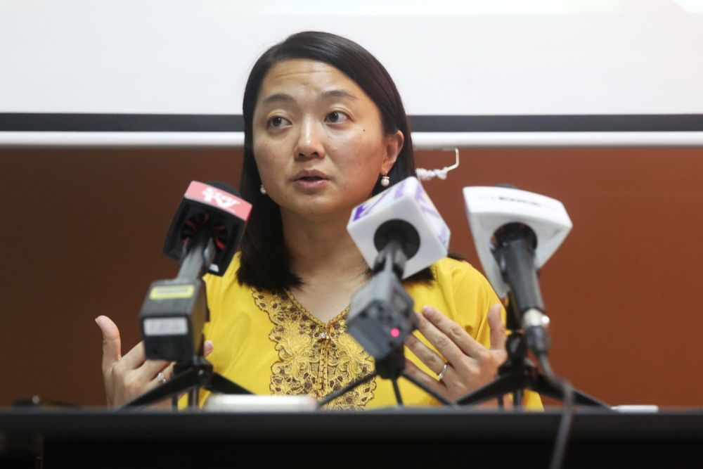 Hannah Yeoh speaks during a press conference at the C4 Center, Petaling Jaya May 15, 2019. — Picture by Choo Choy May
