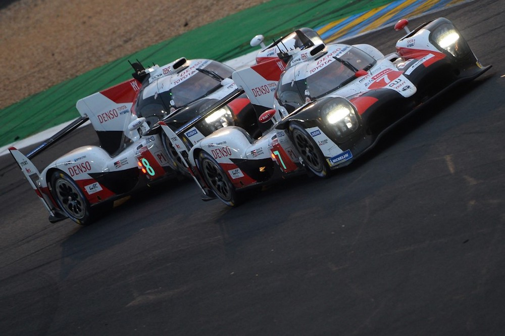 File picture of Argentine's Jose Maria Lopez in his Toyota TS050 Hybrid LMP1 No. 7 fighting for the lead with his teammate Japan's Kazuki Nakajima in his Toyota TS050 Hybrid LMP1 No. 8 during the Le Mans 24 Hours endurance race June 15, 2019. — AFP pic