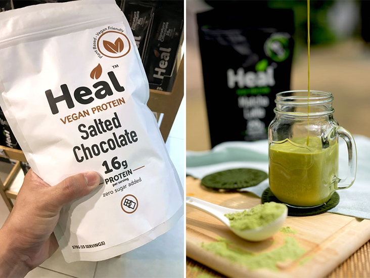 For a non-dairy option, try Heal Vegan Protein made with pea protein (left). The Heal High Protein Matcha Latte flavour for a taste of real green tea (right)