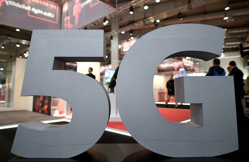 A logo of the upcoming mobile standard 5G is pictured at the Hanover trade fair, in Hanover March 31, 2019. — Reuters pic
