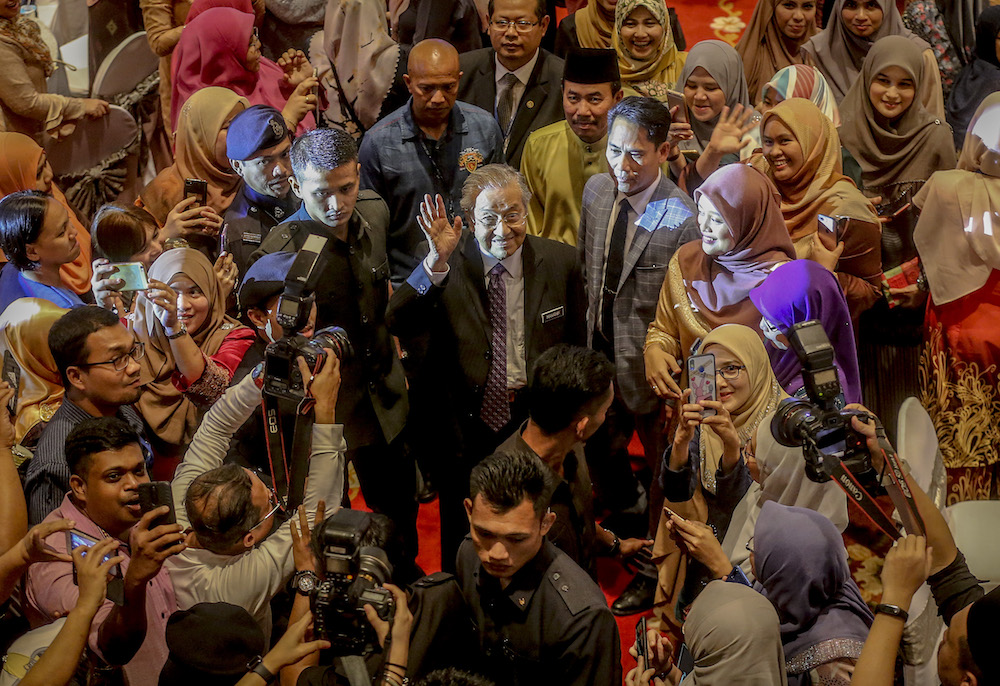 Prime Minister Tun Dr Mahathir Mohamad attends the Prime Minister's Department Hari Raya Aidilfitri open house in Putrajaya June 20, 2019. — Picture by Firdaus Latif