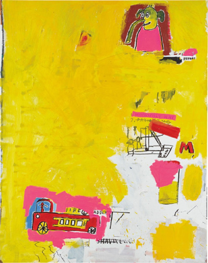 'Pink Elephant with Fire Engine' by Jean-Michel Basquiat (1984). — Picture courtesy of Phillips