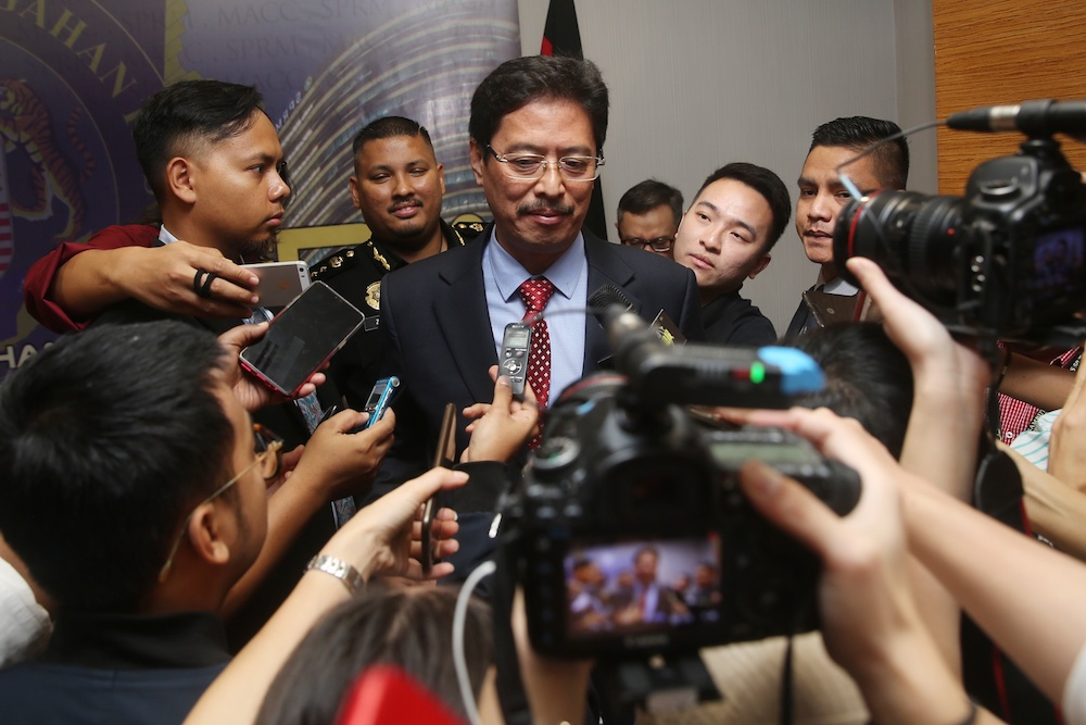 MACC deputy chief commissioner (operations) Datuk Seri Azam Baki speaks to reporters at MACC headquarters in Putrajaya June 21, 2019. — Picture by Choo Choy May