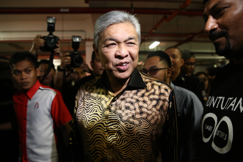 Datuk Seri Najib Razak said June 29, 2019 according to the party constitution, Datuk Seri Ahmad Zahid Hamidi is still the head of the party because he was rightfully elected to the position. — Picture by Yusof Mat Isa