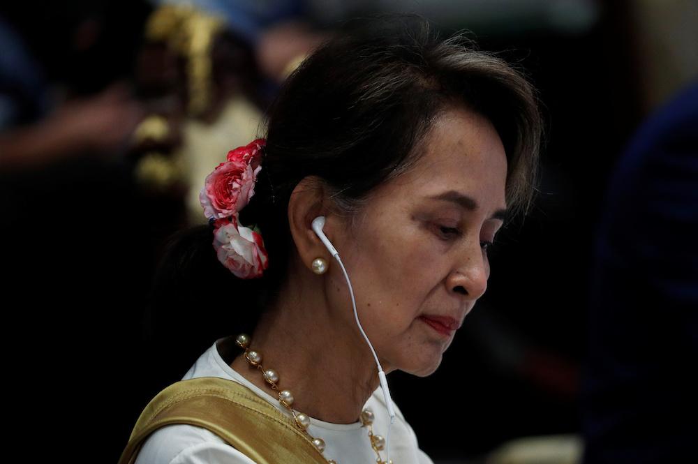 自今年2月缅甸军方发动政变以来,昂山淑姬一直遭扣押至今。-路透社-