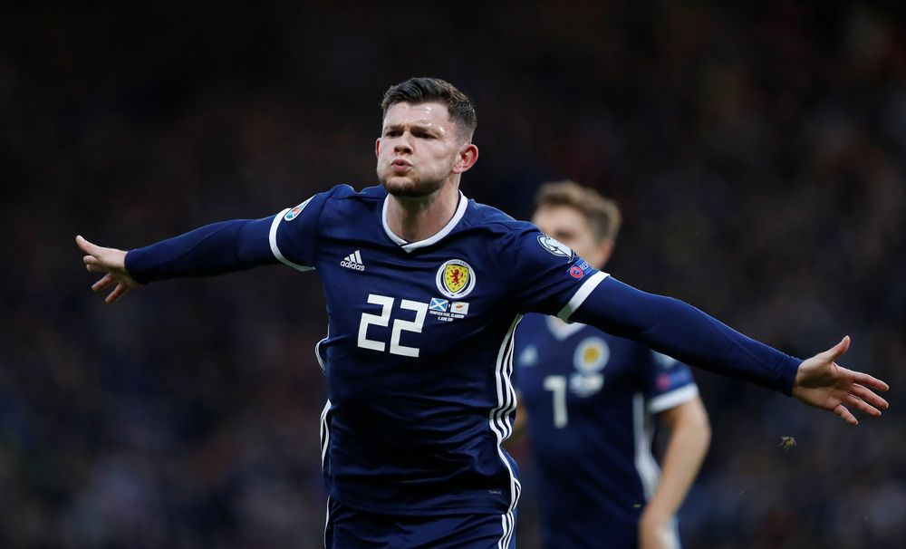 Scotland's Oliver Burke celebrates scoring their second goal against Cyprus during their Euro 2020 Qualifier Group I match in Glasgow, Britain – June 8, 2019. — Reuters pic