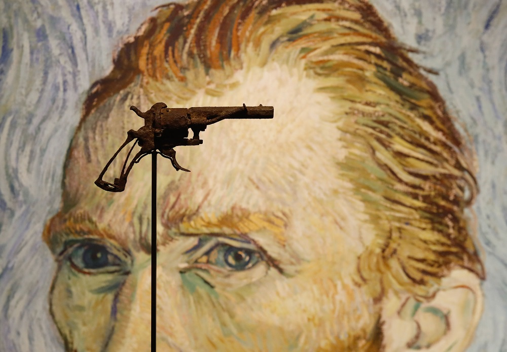 A revolver believed to be the gun Dutch 19th century painter Vincent Van Gogh would have used to kill himself on 27 July 1890 is on public display at Paris' Drouot auction house till June 19, 2019 before it goes under the hammer. — AFP pic