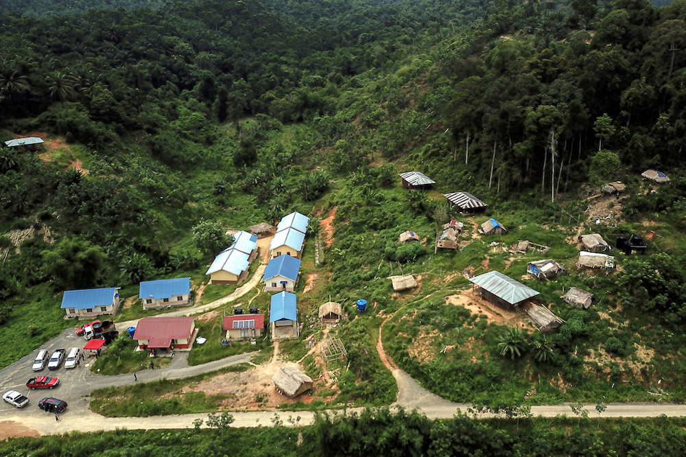 An aerial view of the Batek tribe settlement in Kuala Koh, Gua Musang June 11, 2019. The Orang Asli community in the Lojing area is appealing to the Kelantan government to provide land for them to carry out cash crop farming as a source of income. — Bernama pic