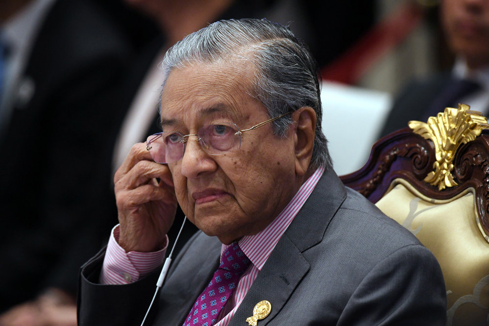 Prime Minister Tun Dr Mahathir Mohamad while attending the 34th Asean Summit (Plenary) at The Athenee Hotel in Bangkok June 22, 2019. — Bernama pic
