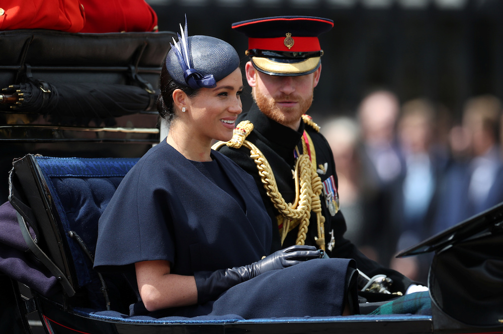 Britain's Prince Harry and Meghan, Duchess of Sussex take part in the Trooping the Colour parade in central London, Britain June 8, 2019. — Reuters pic
