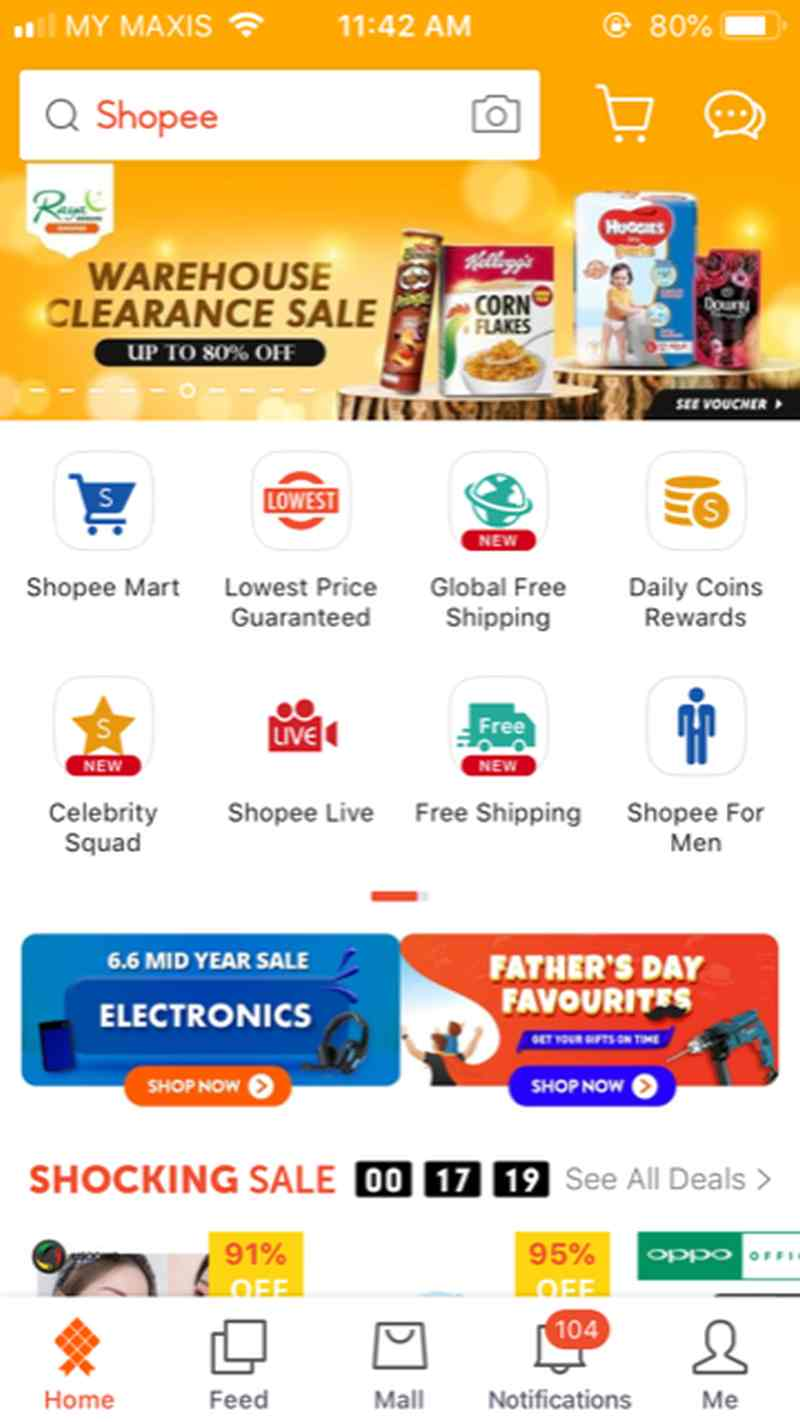 The Shopee app was downloaded 20 million times this year. ― Screengrab from Shopee mobile app