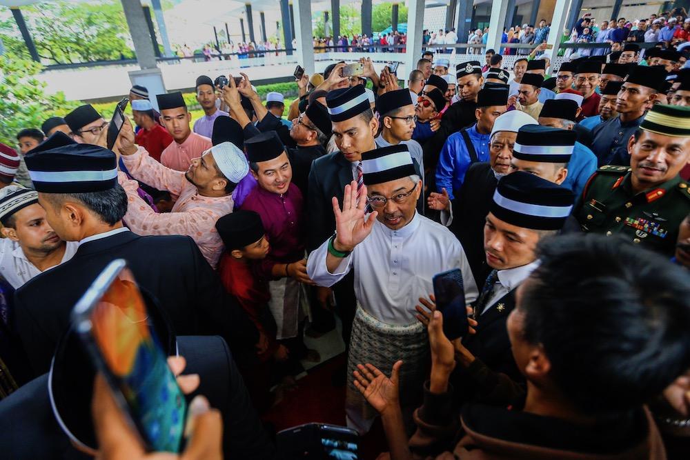 Yang di-Pertuan Agong Al-Sultan Abdullah Ri'ayatuddin Al-Mustafa Billah Shah attends Aidilfitri prayers at the National Mosque in Kuala Lumpur June 5, 2019. — Picture by Hari Anggara