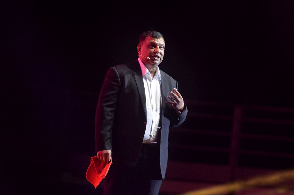AirAsia CEO Tony Fernandes delivers his speech at the 'My Voice, My Nation' event in Kuala Lumpur June 26, 2019. — Picture by Mukhriz Hazim