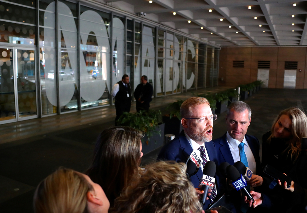 Editorial Director of the Australian Broadcasting Corp (ABC) Craig McMurtie speaks to members of the media outside the ABC building located at Ultimo in Sydney June 5, 2019. — Picture by AAP/David Gray via Reuters
