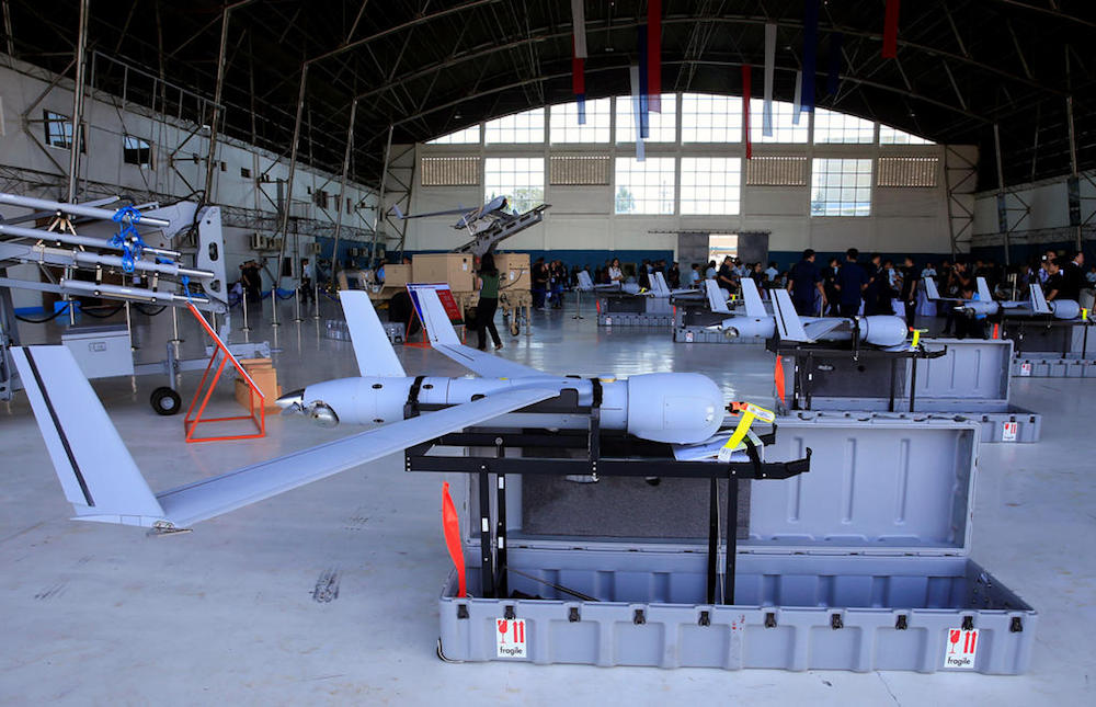 US ScanEagle Unmanned Aerial Vehicles are displayed at a hangar before a transfer from the US to the Philippine Air Force at the Villamor Air Base in Pasay city. — Reuters pic