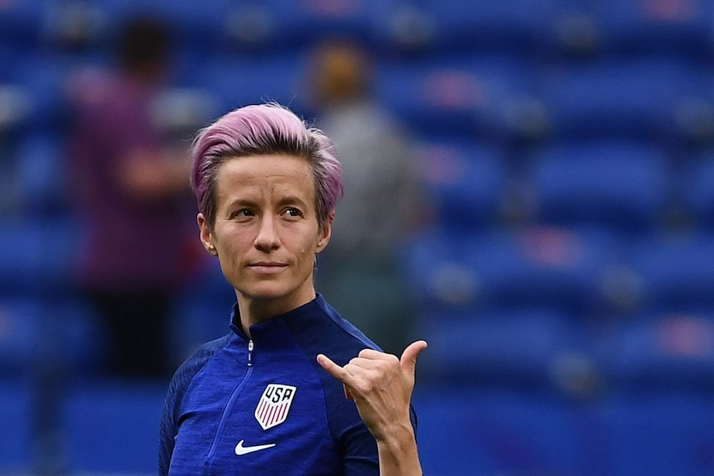 United States' Megan Rapinoe gestures as she walks around the pitch prior to the 2019 Women's World Cup semi-final match with England at the Lyon Satdium in Decines-Charpieu July 2, 2019. — AFP pic
