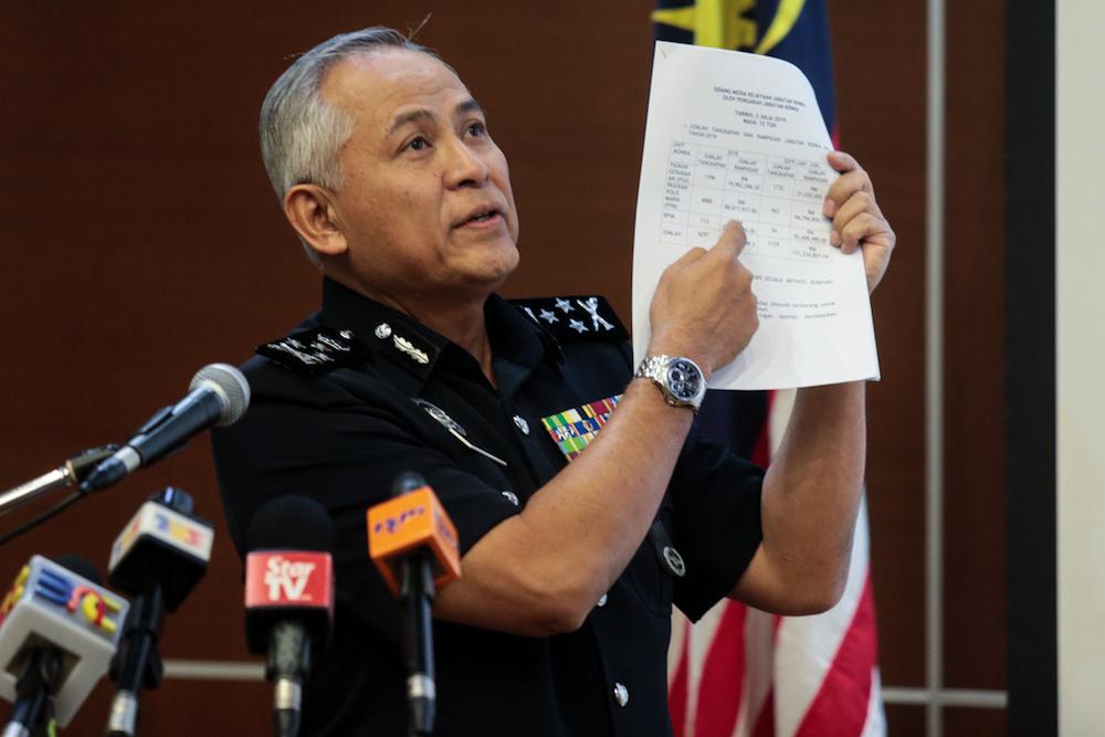 Bukit Aman's Internal Security and Public Safety Department director-general Datuk Seri Acryl Sani Abdullah Sani speaks during a press conference in Bukit Aman July 3, 2019. — Picture by Ahmad Zamzahuri